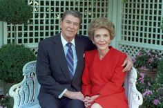 President Ronald Reagan (1911-2004), 40th President of the United States (1981-1989) and First Lady Nancy Reagan (1921-).  They were married March 4, 1952.