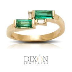 Custom Emerald Ring with Horizontal Settings Canadian Diamonds, Custom Jewelry, Diamond Rings, Emerald, Custom Design, Jewels, Jewellery, Engagement Rings, Enagement Rings