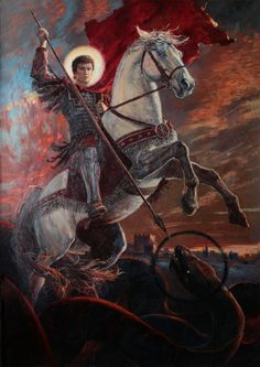 "Surfing the Kali Yuga ""George the Victorious"" Vladimir Kireev 2014 Saint George And The Dragon, Archangel Michael, Catholic Saints, Bible Art, Fantastic Art, Christian Art, Religious Art, Victorious, Concept Art"
