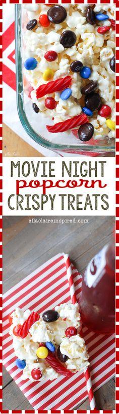 Movie Night Popcorn Crispy Treats recipe~ Popcorn and Movie theater candy perfection! #PopforRio2 #pmedia #ad