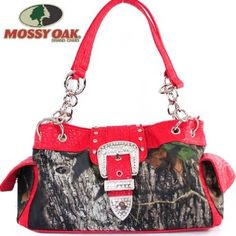 Amazon.com: Mossy Oak Western Camouflage Rhinestone Studded Buckle Turn Over Top Tote Satchel Shoulder Handbag Purse with Chain Strap in Camo and Red: Clothing $42.99