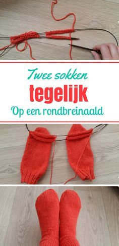 Superhandige tutorial over hoe je twee sokken tegelijk breit.