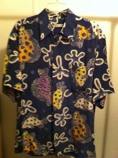 HAWAIIAN PRINT SHIRT by BURMA BIBAS Size M / 100% Silk #BurmaBibas #Hawaiian