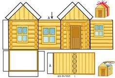 Templates for Putz Houses Log Cabin Christmas Villages, Christmas Home, Christmas Sheets, Pioneer Crafts, Cabin Crafts, Free Paper Models, House Template, Putz Houses, Cardboard Crafts