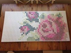 My Giant yarn cross stitch rose on peg board