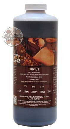 Dark Tanning 11% DHA Solution Airbrush Spray TAN Revive 32 oz Sunless Bottle by Tampa Bay Tan. $44.99. Wheat Amino Acids. Retinyl Palmitate. Eco-Certified DHA. Organic Aloe Barbadensis. Green and White Tea. Revive is a fresh scented Anti-Aging formula which was developed to give you a flawless even fading Sunless Spray Tan with benefits yet to be realized in an Airbrush Tanning Solution product.Revive, has exceeded even our stringent expectations.The current beauty ...
