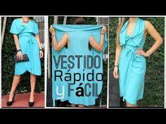 Cómo hacer un VESTIDO RÁPIDO Y FÁCIL - Fabiana Marquesini - 28 - YouTube Beginner Sewing Patterns, Dress Sewing Patterns, Sewing For Beginners, Diy Clothes And Shoes, Diy Clothing, Convertible Clothing, Simple Dresses, Summer Dresses, Hijab Fashion