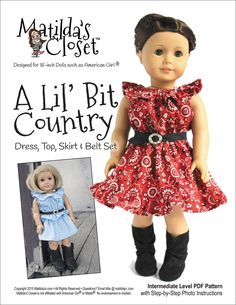 Pixie Faire Matilda's Closet A Lil' Bit Country: Dress, Top, Skirt and Belt Set Doll Clothes Pattern for 18 inch American Girl Dolls - PDF by PixieFairePatterns on Etsy https://www.etsy.com/listing/238479516/pixie-faire-matildas-closet-a-lil-bit