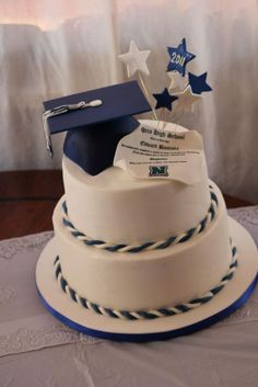 This cake was covered in white fondant. The hat and stars are edible. Look close.the diploma is a replica of Norco High School Diplom. Graduation Desserts, Graduation Cookies, Graduation Celebration, Graduation Party Decor, Grad Parties, Graduation Cake Designs, College Graduation Cakes, Cake Paris, Graduation Open Houses