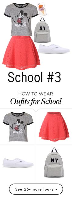 """School 3"" by smokeylovebae on Polyvore featuring LE3NO, Topshop, Vans, Joshua's and Kate Spade"