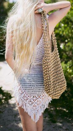 White Crochet Dress bohemian boho style hippy hippie chic bohème vibe gypsy fashion