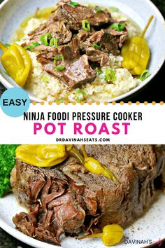 This easy Pot Roast recipe includes just 5 ingredients and is perfect for a weekly meal prep, keto frozen meal, or when feeding a group. In this post, I describe what the Ninja Foodi is and why it's perfect for making a pot roast. I share the best cuts of Chuck Roast Recipes, Pot Roast Recipes, Beef Recipes, Cooking Recipes, Healthy Recipes, Hamburger Recipes, Cooking Ideas, Lunch Recipes, Yummy Recipes