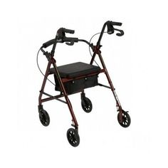4 Wheeled Walker Padded Seat Removable Back Support Fold Up Mobility Elderly New #Drive