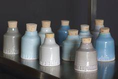 Love these. custom spice jar set. modern pottery minimal design