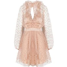 For Love and Lemons All That Glitters Mini Dress ($485) ❤ liked on Polyvore featuring dresses, embroidered dress, pink slip, long cocktail dresses, long sparkly dress and pink dress