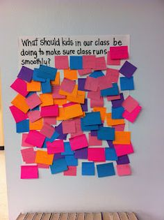 post-its for back to school activities - several different questions/ideas on the blog--maybe have students post about what should be seen in hear in different places (cafeteria, etc.)