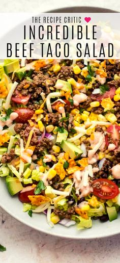 salad recipes for dinner Beef taco salad is a flavorful and easy to make family meal thats sure to be on repeat all summer long! Its loaded with all your favorite taco goodies. This taco salad is SO good, you will never want to eat out again! Taco Salad Recipes, Salad Recipes For Dinner, Dinner Salads, Healthy Salad Recipes, Mexican Food Recipes, Beef Recipes, Beef Taco Salad Recipe, Healthy Summer Dinner Recipes, Summer Dinner Ideas