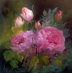 Oil painting Tutorial Still Life - Oil painting Easy - Oil painting Girl Water - Oil painting Still Life Backgrounds - Oil Painting Flowers, Oil Painting Abstract, Watercolor Flowers, Watercolor Paintings, Painting Art, Art Floral, Gary Jenkins, Raindrops And Roses, Botanical Art