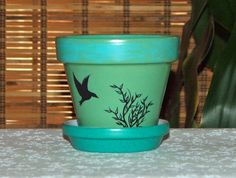 Green with Blue, Hand Painted Clay Pot with Bird.