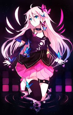 Anime picture with vocaloid ia (vocaloid) bai kongque (shirokujaku) long hair single tall image blush blue eyes pink hair looking away braid (braids) twin braids kneeling dark butterfly on hand girl thighhighs dress choker insect Anime Girls, Kawaii Anime Girl, Anime Art Girl, Manga Art, Beautiful Anime Girl, I Love Anime, Awesome Anime, Chica Anime Manga, Anime Chibi