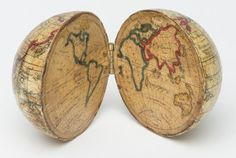 Pocket globe, Holbrook Apparatus Manufacturing Co. Line etching with watercolor on paper and wood. Bequest of Henry Francis du Pont World Globe Map, Globe Art, Map Globe, World Globes, Vintage Maps, Antique Maps, Globe Crafts, Winterthur, Old Maps