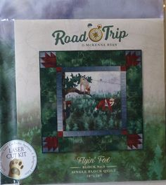 Road Trip~Flying Fox Block 8 Kit McKenna Ryan~Pre-Cut Laser Applique Kit w/ Fabric~Fast Shipping K217