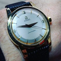 The ultimate sold 14k gold omega seamaster dated 1957.  Amazing original x2 tone dial beautiful condition and great with a black shirt. #omegawatch #omegaseamaster #vintageomega #oldwatch #classicwatch #omega ##VintageWatchesOnly #classicwatch #vintagewatch #vintagewatches #watchdaily #watchaddiction #oldwatch #classicwatch #watchesofinstagram #watchfreak #watchaddict #happyeaster