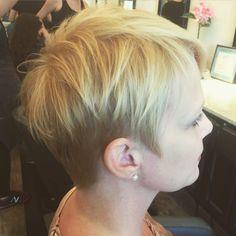 #Pixie cut #blonde #short hair #cropped haircut