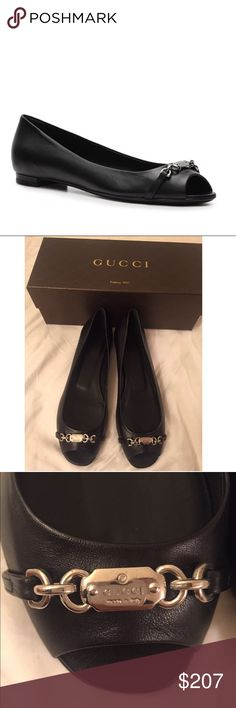 """Gucci peeptoe flats Elegant and comfortable black leather almond peep toe designed with silver nameplate hardware with logo detail Salandia fully lined Leather, with leather sole Lightly cushioned footbed  Heel height - 1/2"""" Brand new with box Retail - $695+tax Size 38 AUTHENTIC  New, never been worn just tried on once, has all the shoe """"stuffing"""" Made in Italy Price is non negotiable, also on M Gucci Shoes Flats & Loafers"""