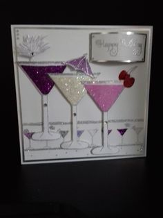 Cocktails Birthday Cards For Women, Handmade Birthday Cards, Greeting Cards Handmade, Tarjetas Stampin Up, Stampin Up Cards, Cute Cards, Diy Cards, Chloes Creative Cards, Craftwork Cards