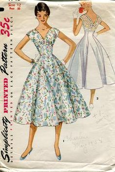 Sewing Patterns,Vintage,Out of Print,Retro,Vogue Simplicity McCall's,Over 7000 - Simplicity 4743 Retro 1950's Gored High Waist Dress *