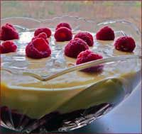 Raspberry dream trifle recipe. The very first known recipe was published in 1596 in a book called The good huswife's Jewell. It was not like the trifles of today, being nothing more than thick cream flavoured with sugar, ginger and rosewater. It wasn't until sixty years later when eggs were added and the custard was poured over alcohol soaked bread