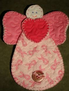 Clearance Breast Cancer Quilted Angel by 3StitchCreations on Etsy