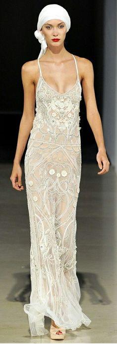 beige beaded gown