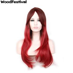 WoodFestival long straight wig ombre burgundy wig 70 cm gradient wine red womens wigs hair synthetic wigs heat resistant