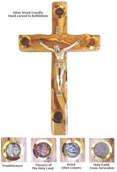 "Essence of the Holy Land - Olive Wood Crucifix - 8"""