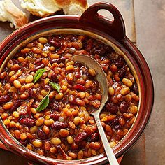 Best Potluck Recipes Sassy Baked Beans: So much better than canned! More potluck favorites: www.midwestliving… Our Best Potluck Recipes Sassy Baked Beans: So much better than canned! More potluck favorites: www. Potluck Recipes, Side Dish Recipes, Cooking Recipes, Potluck Desserts, Potluck Ideas, What's Cooking, Lunch Ideas, Summer Recipes, Meal Ideas