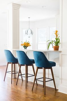 PORTFOLIO — DESIGNED Mid century modern bar stools with white paneling at kitchen bar, kitchen remodel, Designer: Carla Aston Stools For Kitchen Island, Rustic Kitchen Cabinets, Kitchen Chairs, Bar Chairs, Home Decor Kitchen, Dining Chairs, Bar Kitchen, Room Chairs, Island Chairs