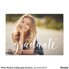 207 best graduation announcements invitations images on pinterest white modern calligraphy graduation announcement filmwisefo