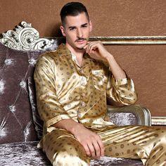 Nwt Mens Silk Satin Pajamas Sleepwear Pyjamas Pjs Long Sleeve M L Mens Silk Pajamas, Satin Pajamas, Pyjamas, Mens Sleepwear, Sleepwear Sets, Moustaches, Silk Pants, After Dark, Looks Style