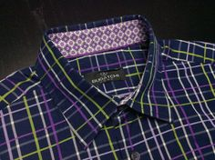 BUGATCHI Mens L Navy Green Purple White Plaid Long Sleeve Floral Flip Cuff Shirt | Men's Fashion | Menswear | Men's Apparel | Casual Style | Men's Outfit for Spring/Summer | Moda Masculina | Shop at designerclothingfans.com