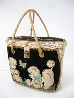 Vintage Poodle Purse. With poodles that have the prettiest eyes.