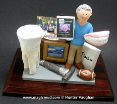 Custom Made Dentist Figurine, his pic on cover of ODA Magazine, family pic on desk, etc....  any orthodontist, periodontist, endodontist or general dentist is made to order....as well as any other occupation! http://www.magicmud.com 1 800 231 9814 $225  #anniversary #birthday #cake toppers#figurine#gift#dentist#endodontist#dental#dentistry#orthodontist#periodontist#prosthodontist#graduation#office-gift