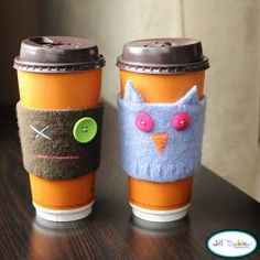Use an old sweater to make a cup cozy - I've seen these in shops and thought about getting one as they help cut back on using the paper cup cozies. ... but now I see I can recycle my old sweaters that I otherwise have thrown out.