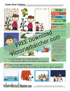 Free Printable Charlie Brown Christmas Planner Stickers - Victoria Thatcher