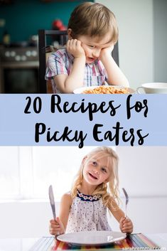 20 Recipes for Picky Eaters (plus tips to make mealtimes easier). Pressuring your kids to eat their meal NOW will probab Picky Toddler Meals, Healthy Meals For Kids, Kids Meals, Easy Meals, Healthy Recipes, Healthy Lunches, Toddler Food, Detox Recipes, Snack Recipes