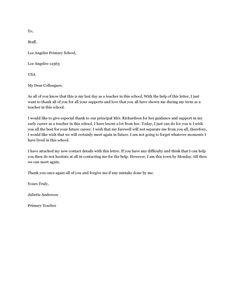 Goodbye Letter to Colleagues - A farewell letter to colleagues can be used to bid goodbye to all the colleagues, which one has grown close to.