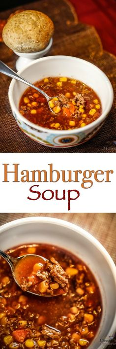 A heartwarming combination of hamburger and vegetables in a tomato base makes this delicious hamburger soup that is easy to throw together on a cold day.  via @2creatememories