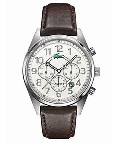Lacoste Watch, Men's Chronograph Zaragoza Brown Leather Strap 43mm 2010620 - All Watches - Jewelry & Watches - Macy's