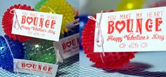 Toddler non-candy Valentine's. You Make My Heart Bounce. Great for preschool and infants on valentines day or birthday party.